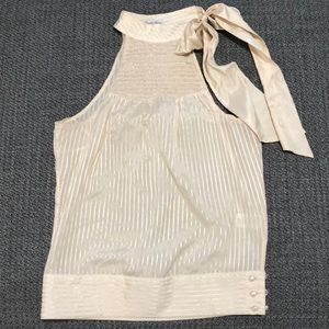 GUESS gold striped halter with pearl buttons❤️EUC